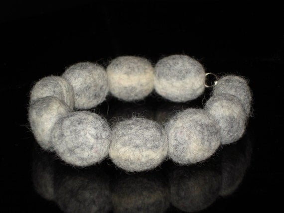 Wool Felt Stone Bracelet White Gray Not Dyed Autumn Winter Fashion Ideas Christmas Gift under 25 for her, Eco OOAK Nature Jewelry  trends