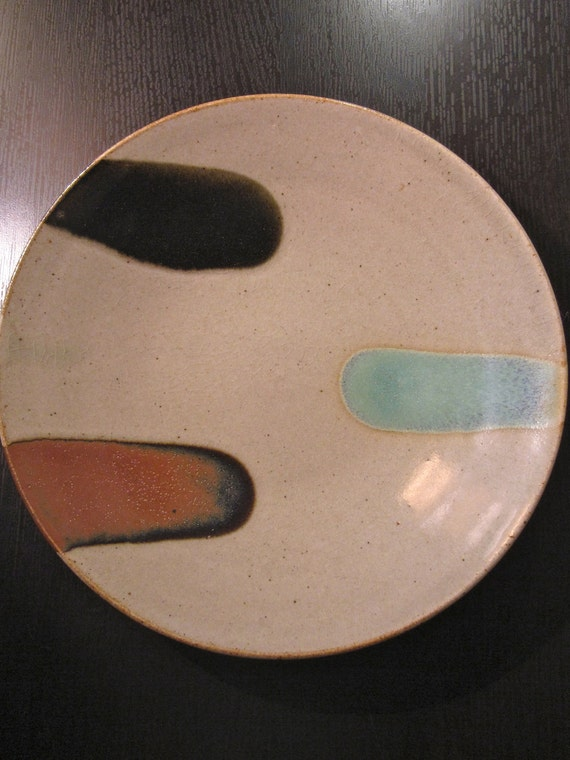 Vintage Japanese Mashiko Pottery Modernist Plate - Mint