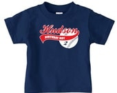 Personalized kids baseball birthday t shirt, boys baseball shirt