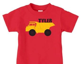 Personalized dump truck shirt, construction birthday shirt, boys birthday shirt,