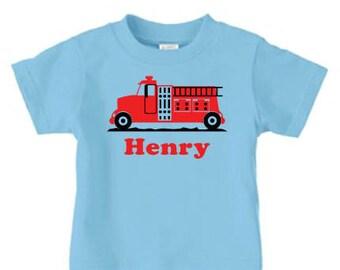Firetruck birthday shirt, Personalized firetruck birthday shirt
