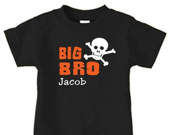 Personalized big bro / brother skull t shirt, sibling t shirts