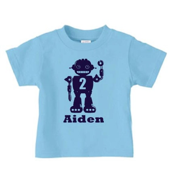 Personalized robot birthday t shirt, boy robot name and number birthday shirt