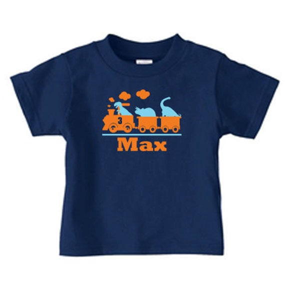 Personalized dino train tshirt, dinosaur tran birthday t shirt for boys