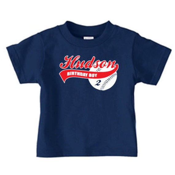 Personalized kids baseball birthday t shirt boys by for Custom baseball tee shirts
