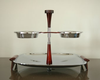 """Mid Century Glo Hill Chrome """"Gourmates""""  Large Tray with  Dipping Bowls that Swivel"""