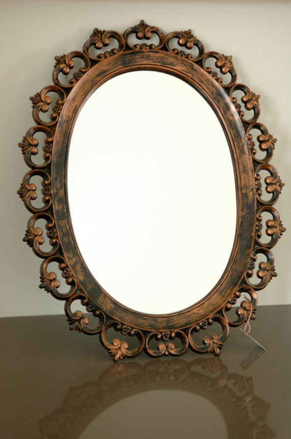 Mid Century Hollywood Regency Copper Gild Mirror