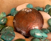 Artisan Etched Antiqued Copper Pendant with Glass Beads