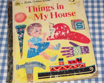 things in my house, vintage 1977 children's little golden book