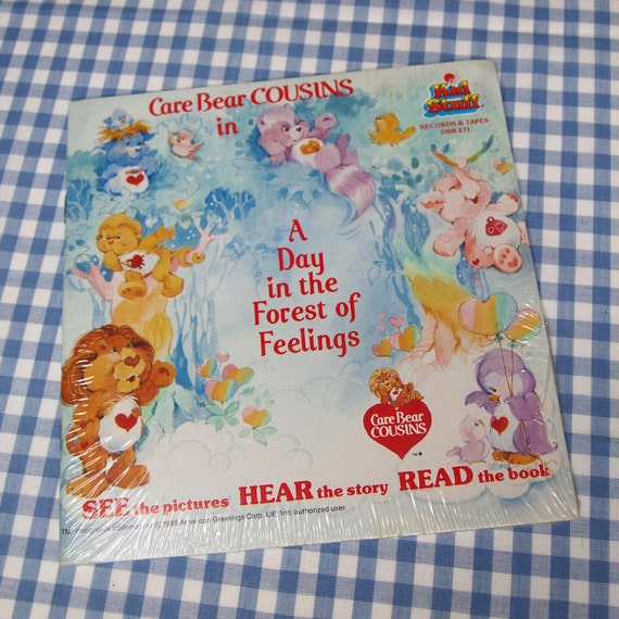 care bear cousins - in a day in the forest of feelings, vintage 1985 children's book and record STILL IN PACKAGE