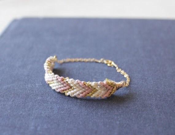 lavender / gold - woven chevron gold bracelet