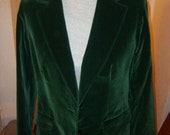 Vintage 1970s velvet green riding boyfriend jacket/blazer