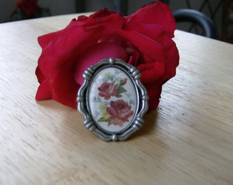 Victorian Rose Ring/ statement ring/ flower ring, antique silver