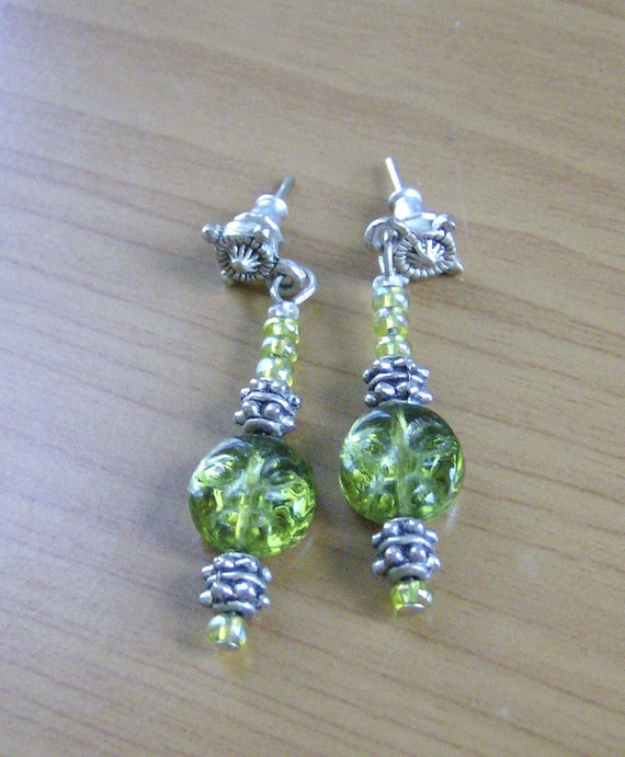 Aztec Autumn Sun, glass bead earrings