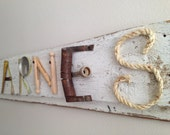 Custom Order-Barnes Too Family Name Sign junk yard art white washed vintage wood sign sweet taters-Custom Order