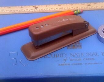 Vintage Stapler by Swingline, Brown Metal Cub Stapler, Mid Mod Insustrial Home Office Small Stapler