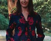 Vintage - Scarlet Begonias Blouse