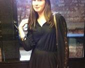 Vingate 1970s Little Black Dress - Lace on Sleeve