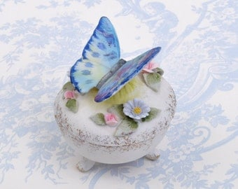 L Amour China Handpainted Butterfly Covered Dish