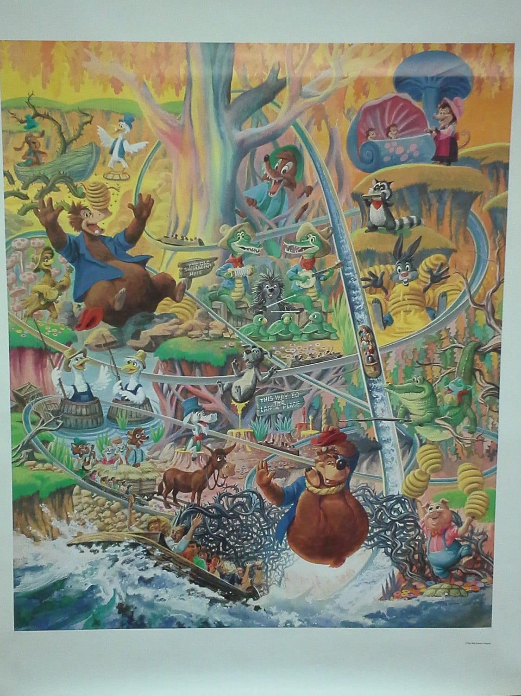 Splash mountain Disneyland poster vintage mint