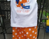 Auburn Football Helmet Shirt with Orange and White Ruffle Pant Outfit