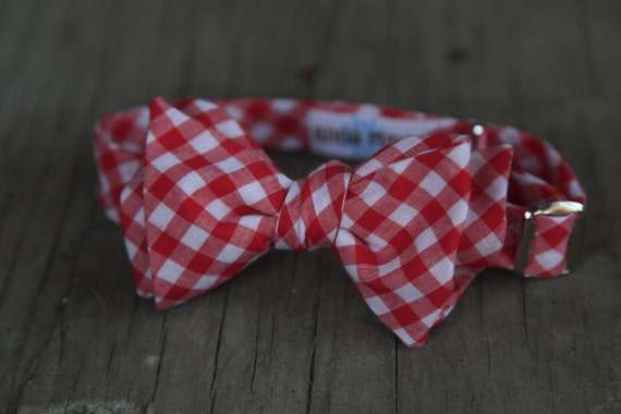 Summertime Picnic Table Red Gingham Bow Tie