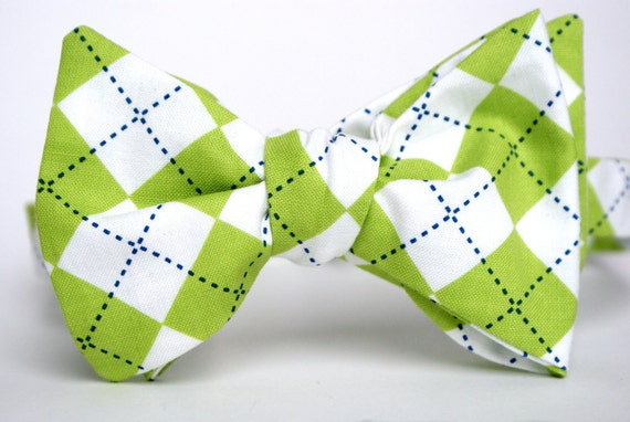 Green and Blue Argyle Men's Bow Tie