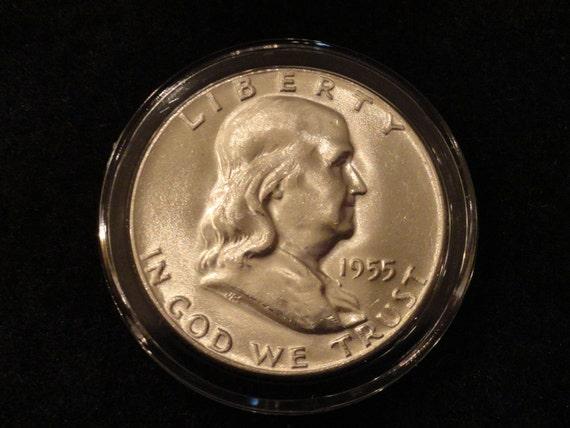 Brilliant Uncirculated 1955 Franklin SILVER Half Dollar- Key Date.