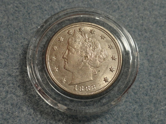 1883 Liberty V Nickel no CENTS- AU or better.