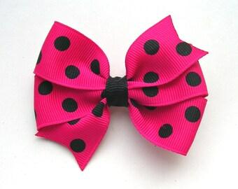 """Hot Pink Hair Bow - 3"""" or 4"""" Medium Pinwheel Bow - Polka Dot Bow - Shocking Pink with Black Polka Dots"""