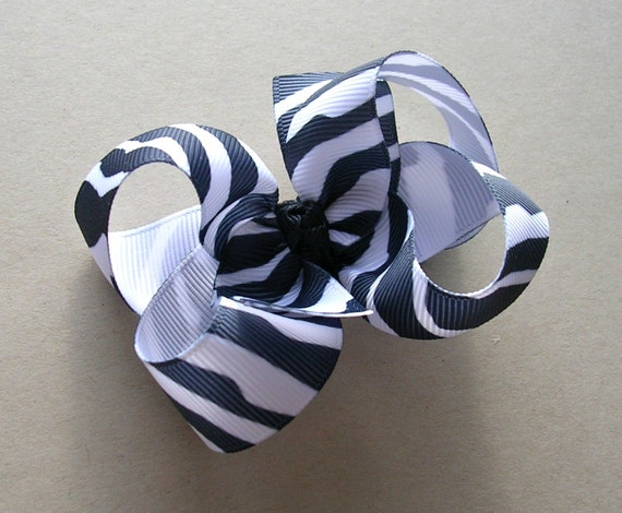 "Zebra Hair Bow - Black and White - 3"" Medium Twisted Boutique"