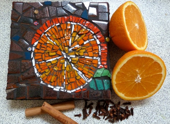 Mosaic Art Orange Zest Bright colours suit a kitchen