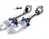 Silver studs EARRINGS natural blue Kyanit mystic Quartz, aqua baby blue sea water, long chain snails, unique fashion