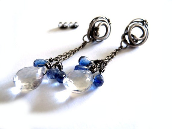 Silver studs EARRINGS natural blue Kyanit mystic Quartz, aqua baby blue sea water, long chain snails, unique fashion