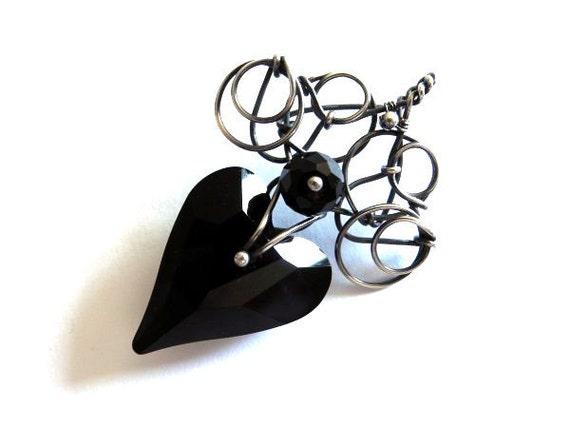 Silver pendant Swarovski black crystal, heart bead snail, dark gothic victorian, unique fashion elegant