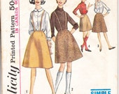 1960's Printed Sewing Pattern Simplicity 5079 junior and teens skirt size waist 26