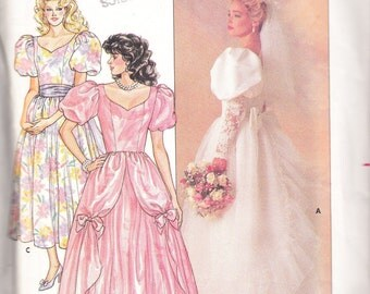 1986 Butterick pattern 3685 misses wedding bridal gown size 14
