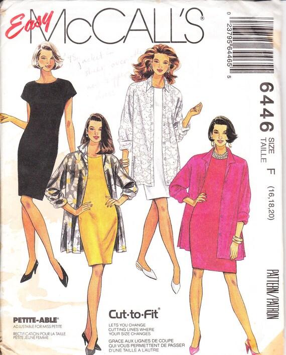 1993 McCall's pattern 6446 misses shirt jacket & dress  size 16-20