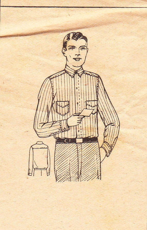 1930's Sewing Pattern CMO mail order 9620 men's shirt