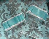 "Pair of Blue and White ribbon ""Ruffles""  2 inch hair combs"