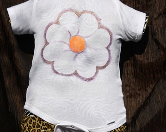 Flower, Onesie, 8-Petal, Purple-Gold Metalic, Hand-Painted, Outside The Lines