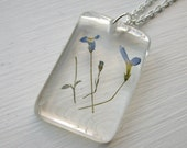 Blue Wildflower Resin Necklace