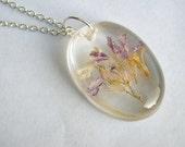 Purple Flower Garden Resin Necklace