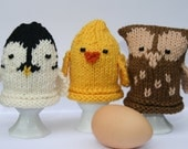 Owl, Chick and Penguin Egg Cozies - KNITTING PDF PATTERN
