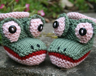 BABY KNITTING PATTERN in pdf - Baby Froggy Booties