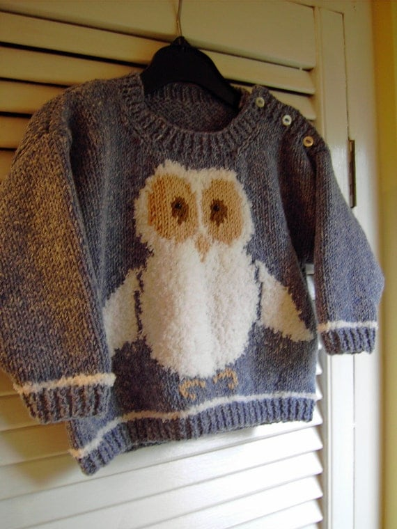 Knitting Pattern For Owl Jumper : Owl Sweater KNITTING PATTERN in PDF Instant Download Owl