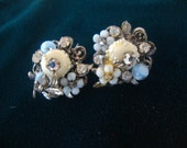 Robert Vintage Haskell Earrings Powder Blue Vanilla and Rhinestones