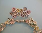 Vintage Pastel Enamel and Rhinestone Bracelet Earring Set