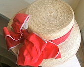 Whittall & Javits Straw Hat with Big Red Band and Bow