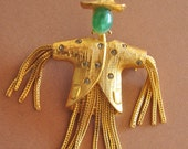 Jeanne Jade Scarecrow Brooch Green Glass Cabochon Figural Retro Jewelry